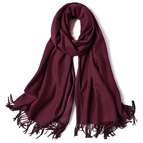 SOJOS Womens Large Soft Cashmere Feel Pashmina Shawls Wraps Winter Scarf SC3004 with Wine Red