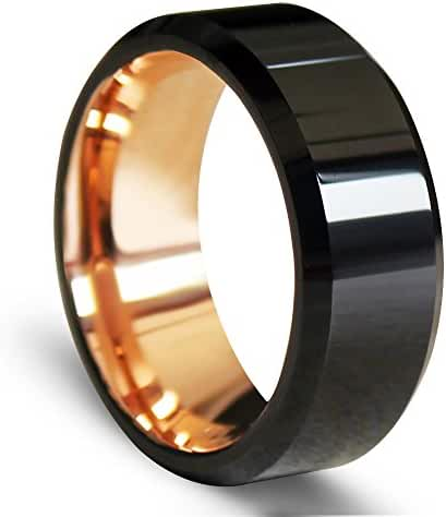 EZreal Black Beveled Tungsten Carbide Rings with Comfort Fit Rose Gold Plated Interior 8mm Men's Wedding Bands Top Polish Finished Rose Gold Engagement Rings for Women Promise Rings for Her Unique Wedding Rings