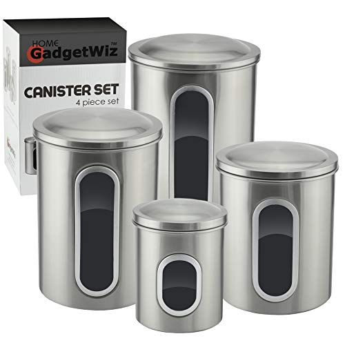 (Stainless Steel Kitchen Canister Set with Window - Brushed Stainless Steel - Anti fingerprint Coating - Food Storage Container Set of 4 - Sealed lids with Silicon Ring)