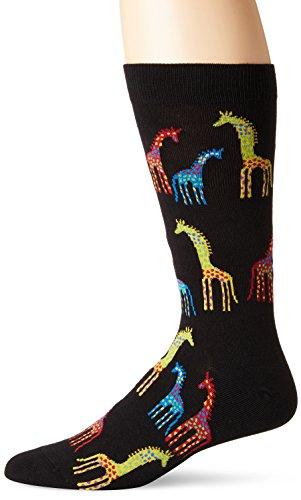 K. Bell Socks Men's Casual Animal Novelty Crew Socks, Giraffes (Black), Shoe Size: -