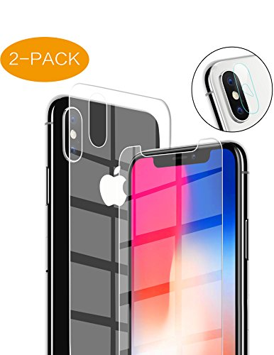 Dcase Compatible iPhone X Screen Protector,2 Pack Front Back Camera Lens Tempered Glass Replacement for iPhoneX