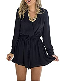 Womens Long Sleeve jumpsuits Casual Party Playsuit Summer Shorts Romper Dresses