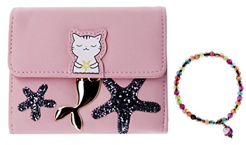 Price comparison product image ABC STORY Minimalist Cute Cat Small Front Pocket Wallet Purse For Teens Women
