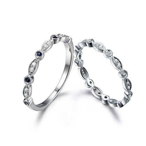 2 14k Chalky Gold Natural Blue Sapphire Diamond Matching Rings Set,Marquise Milgrain Vintage Retro Bands