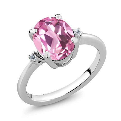 Gem Stone King 2.94 Ct Oval Light Pink Created Sapphire White Topaz 925 Sterling Silver Ring (Size ()