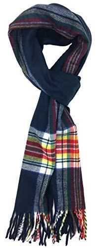 Plum Feathers Super Soft Luxurious Cashmere Feel Winter Scarf (Navy Tartan)