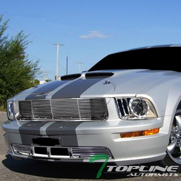 Topline Autopart Chrome Housing DRL LED Halo Rims Crystal Headlights Signal Lamps NB + Horizontal Billet Upper Hood + Lower Bumper Front Grill Grille 05-09 Ford Mustang V6