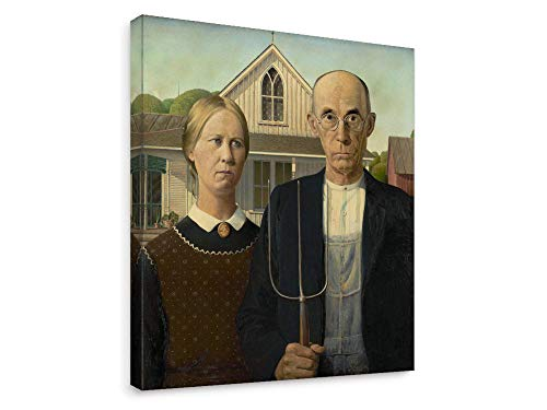 Niwo Art - American Gothic, World's Most Famous Paintings Series, Canvas Wall Art Home Decor, Gallery Wrapped, Stretched, Framed Ready to Hang (24