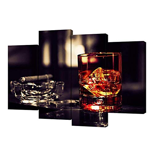 - VVOVV Wall Decor - Brown Whisky In Cups With Ice Canvas Wall Art Print Wine Painting Framed Pictures Smoking Cigar Ashtray Poster Giclee Artwork Wall Decor Kitchen Bar