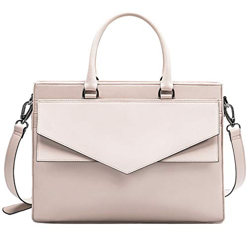 Leather Laptop Bag, Sleek Minimalist Multi-Pocket Rainproof Crossbody Bag, Handbag, Small Square Bag, Suitable for Outdoor Leisure, School, Shopping Mall, Business, Ladies (Color : Pink-L)