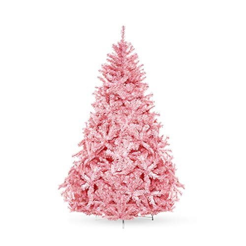 Best Choice Products 6ft Artificial Christmas Full Fir Tree Seasonal Holiday Decoration with 1477 Branch Tips, Foldable Stand, Pink (Christmas Artificial Tree Red)