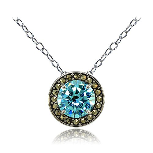 (Ice Gems Sterling Silver Simulated Aquamarine and Marcasite Halo Necklace)
