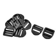 uxcell® Plastic Luggage Bag Strap Belt Adjustive Ladder Tension Lock Buckles 8 Pcs Black