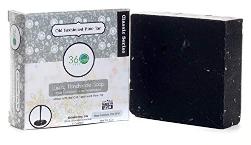 Handmade Soap Old fashioned Pine Tar, X-LARGE 5oz bar- REAL Pine Tar, exfoliant- activated charcoal & oatmeal - Normal to dry skin, Natural Soap - Organic Castile lye Soap, Made in USA- 360Feel