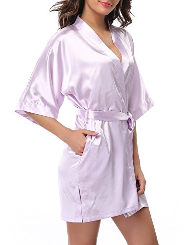 FADSHOW Women's Plus Size Short Robes Solid Color Kimono Bathrobes,Light -