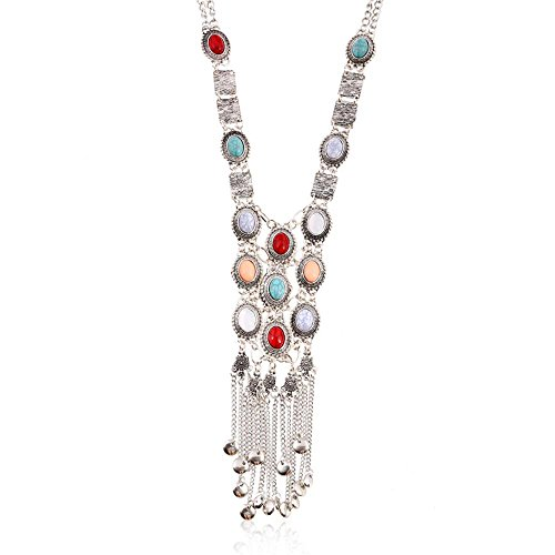 [Women's Vintage Silver Gold Tone Turquoise Long Bib Ethnic Tribal Boho Beads Fringe Statement Necklace Bohemian Jewelry (Antique Silver)] (Vintage Belly Dance Costumes For Sale)