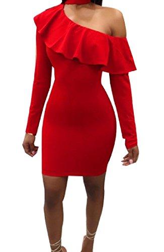 Sexy Moulante Classique Confortables Femmes Une Tunique Solide Épaule Haut Rouge Robe