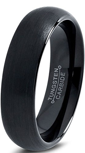 Charming Jewelers Tungsten Wedding Band Ring 6mm Men Women Comfort Fit Black Dome Brushed Size 9