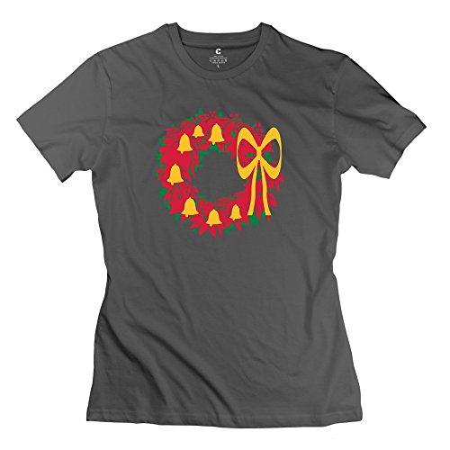 100% Cotton Custom Bows Bells Christmas Reef3 T-shirt For Women O-Neck DeepHeather
