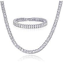 "14k Gold / Silver Plated 24"" Tennis Chain & 2 Row X 8"" Bracelet SET Men's Women's Necklace"