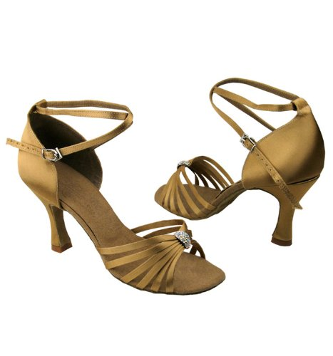 Scarpe Da Ballo Da Donna Per Ballare Latino Salsa Tango Signature S92311 Tan Satin 3