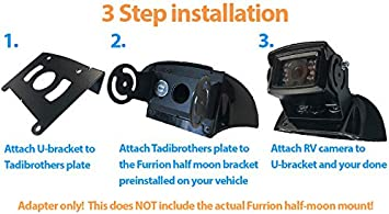 TadiBrothers Furrion Compatible Backup Camera Bracket Adapter with a Power Adapter for Pre-Wired RV or Trailer with a FRCBRKT-BL