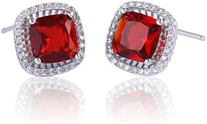 GULICX Women Stud Earrings One Pair White Silver- Tone Square Shaped Gem Red Studs Garnet Color