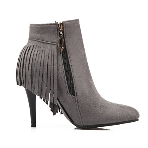and for female the and shoes of Grey boots Tip the heeled high wild zip QX boots sleek week short su ZQ side boots fine wx81qt