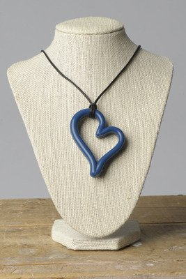 Round Necklace Rubber (Teethease Heart Pendant Toy, Navy)