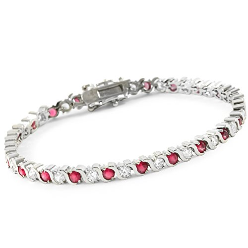 Glamouresq Rhodium Plated Round Cut 18.00ctw AAA+ Grade Red and White Cubic Zirconia CZ Classic Tennis Bracelet - Rhodium Plated Classic Line