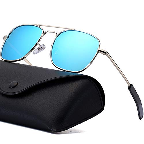 Polarized Aviator Sunglasses for Mens Retro Military Pilot Navigator Army Sun Glasses 55mm Square Metal Frame with Bayonet Temples Silver Frame Blue Mirrored Lens
