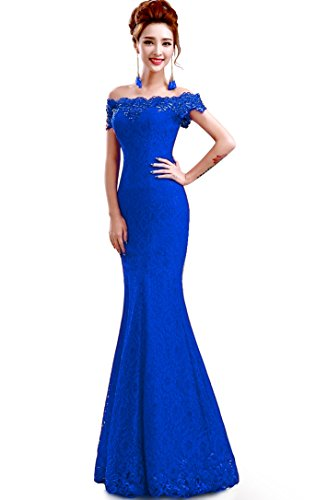 Babyonline 2016 off shoulder Royal blue Mermaid Evening Formal Bridesmaid dress, Blue, Size 6 (Royal Blue Lining)