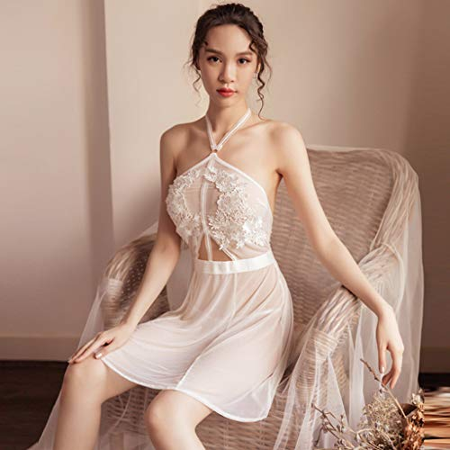c678fb557 Amazon.com  Chenout Nightwear Women Sexy Lace Splice Dress Babydoll Summer  Ladies Sex mesh Gauze Nightdress lace Print Black  Clothing