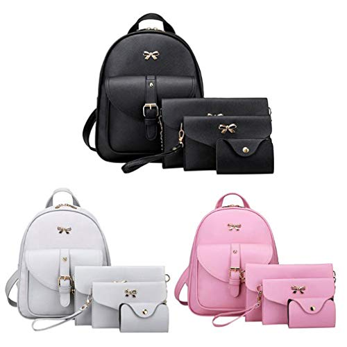 Female 4Pcs Backpacks Leather Back Pu Clutch Pack Women Bowknot Pink Bag Backpack Shoulder q6pYqT