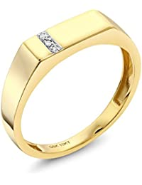 10K Solid Yellow Gold Men's White Diamond Wedding Anniversary Ring (Available 7,8,9,10,11,12,13)