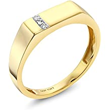 10K Solid Yellow Gold Men's White Diamond Wedding Anniversary Ring (Available in size 7, 8, 9, 10, 11, 12, 13)