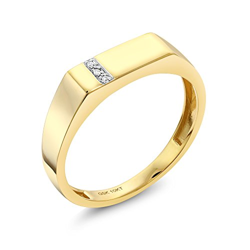 (Gem Stone King 10K Solid Yellow Gold Men's White Diamond Wedding Anniversary Ring (Available 7,8,9,10,11,12,13) (Size 10))