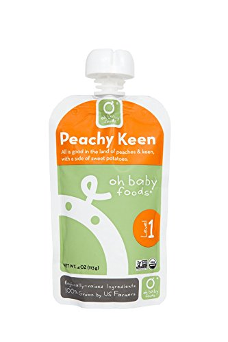 Oh Baby Foods-100% Organic-24 Pack-Peachy Keen-Level 1 Baby Food-4Oz/24 Pack