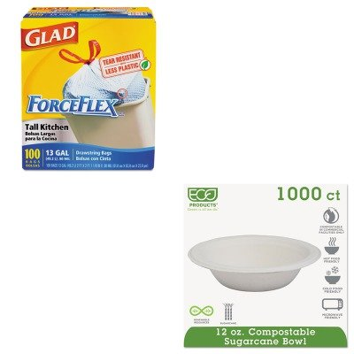 KITCOX70427ECOEPBL12 - Value Kit - ECO-PRODUCTS,INC. Compostable Sugarcane Dinnerware (ECOEPBL12) and Glad ForceFlex Tall-Kitchen Drawstring Bags (COX70427)