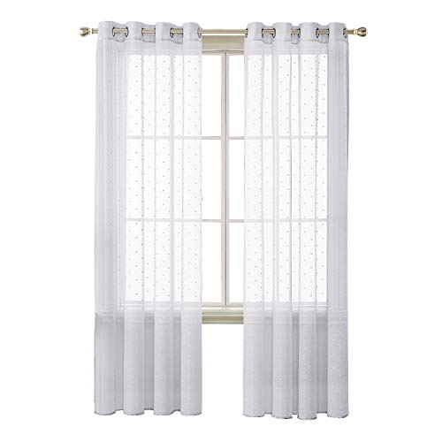 Deconovo White Sheer Curtains Grommet Dots Design Jacquard Sheer Curtains for Nursery Room 52X95 Inch Set of 2
