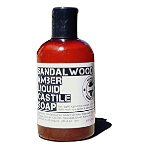 Best Beard Wash for Men - Soothing Natural Beard Wash Soap - 100% Organic - Castile Soap with Sandalwood and Amber - By The Famous Beard Oil Company (4oz)