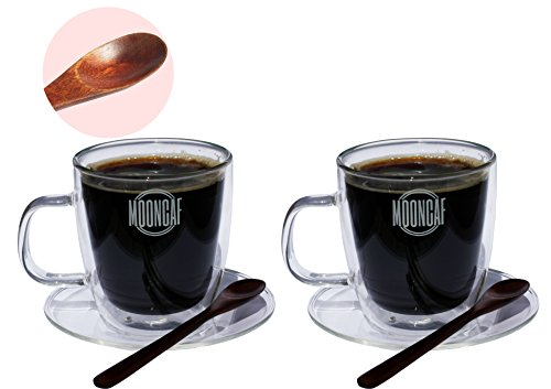 Espresso Cups Set of 2 by Mooncaf, Double Wall Design, Quality Borosilicate Glass Material, Attractive Wooden Spoons, Easy Handles, 8.5 Oz Capacity, Suitable for Tea, Coffee, Hot or Cold Drinks