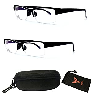 (#WYM850 Blk) 2 Pairs Half Frame Myopia Eyeglasses Short Sight Glasses Nearsighted +INCLUDED FREE Hard Case (Strength: -150)