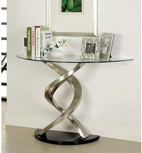 BOWERY HILL Glass Top Console Table in Satin