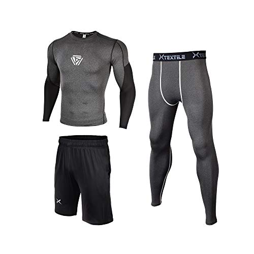 Xtextile 3 Pcs Men's Workout Set with Compression Pants Long Sleeve Shirts and Loose Fitting Shorts for Running Fitness (Black/Heather Grey, X-Large)