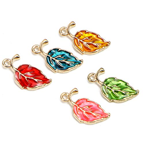 Monrocco 50Pcs Leaf Charms, Enamel Leaf Charm Pendants Gold Plated Enamel Charms for Crafting, Jewelry Making