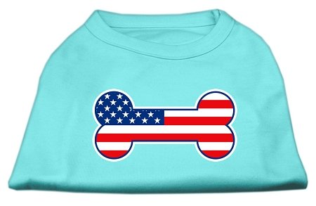 Mirage Pet Products Bone Shaped American Flag Screen Print Shirt, 3X-Large, -