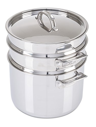 8 Quart Spaghetti Cooker - Viking 3-Ply Stainless Steel Pasta Pot with Steamer, 8 Quart
