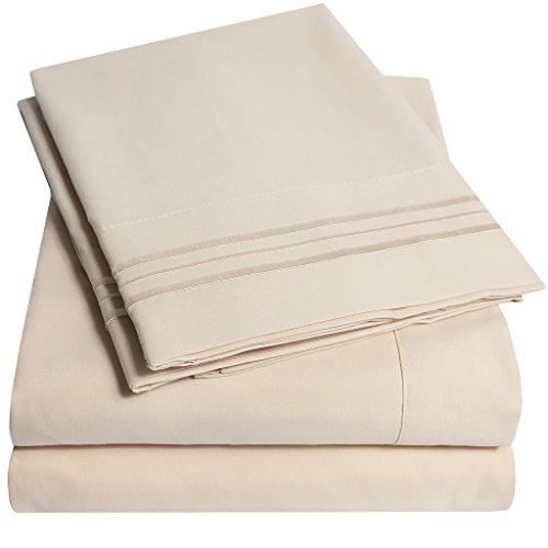 1500 Supreme Collection Extra Soft Queen Sheets Set, Beige - Luxury Bed Sheets Set With Deep Pocket Wrinkle (Queen Bed Sheets Beige)