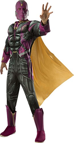 The Vision Halloween Costume (Rubie's Men's Captain America: Civil War Deluxe Muscle Chest Vision Costume, Multi,)